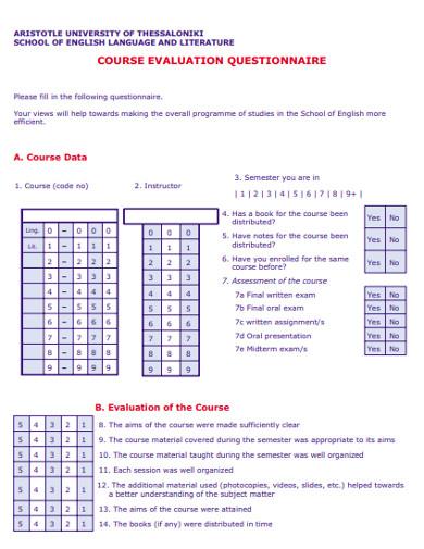 school course evaluation questionnaire example