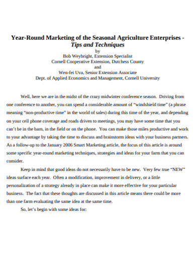 seasonal agriculture marketing example
