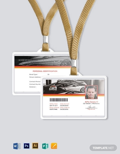 service id card format template