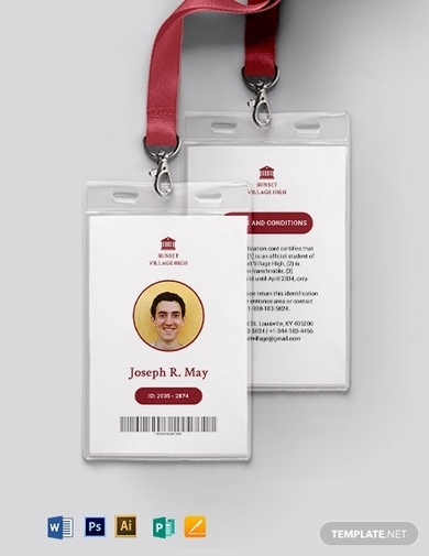 simple school id card template