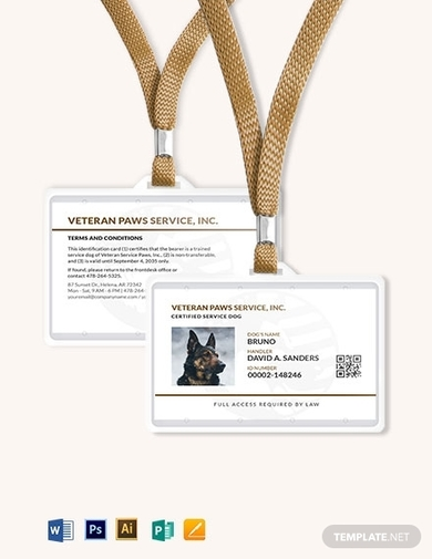 simple service dog animal id card template