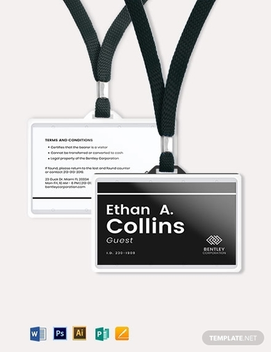 simple visitor guest id card template