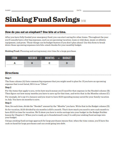sinking funds savings example