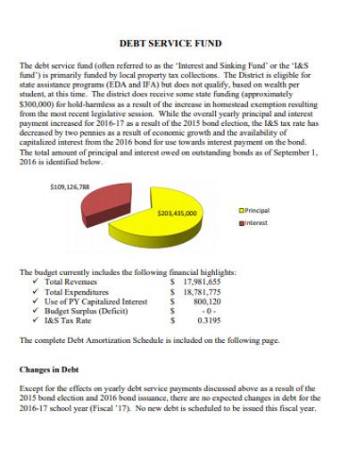 standard debt service fund example