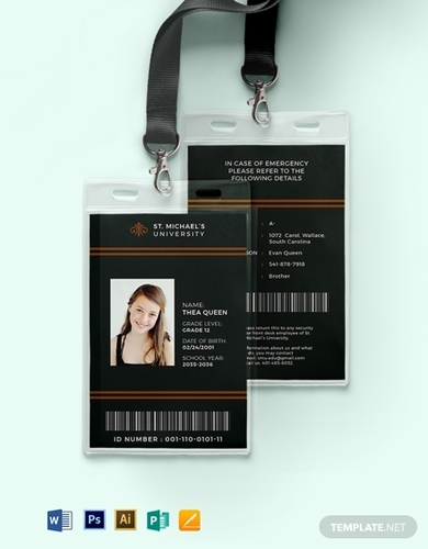 student university id card template