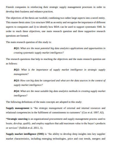 supply market analysis management example
