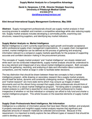 supply market analysis for a competitive advantage