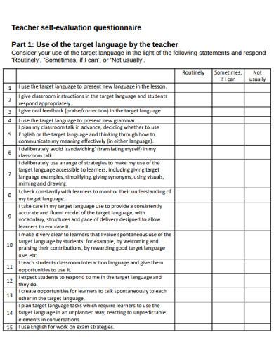 teacher self evaluation questionnaire
