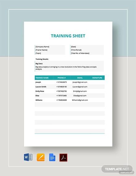 training sheet template