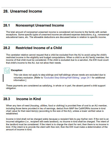 unearned income template