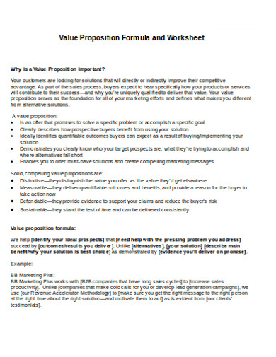 value proposition formula and worksheet