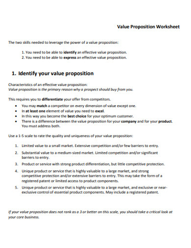 value proposition worksheet example