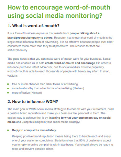 word of mouth social media marketing example