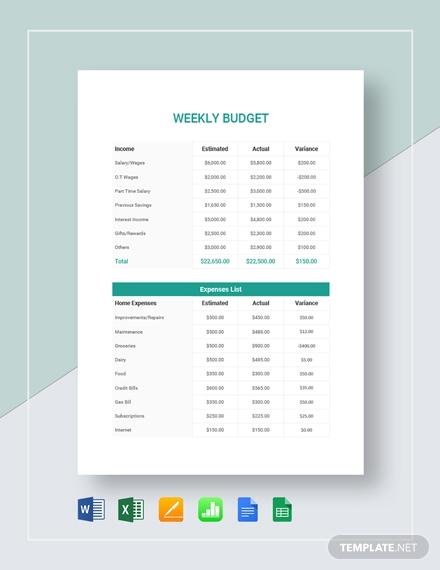 simple weekly budget
