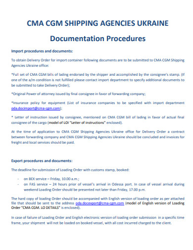 agence documentation procedures example