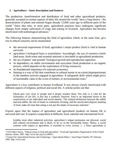 agriculture assesment ethics research example