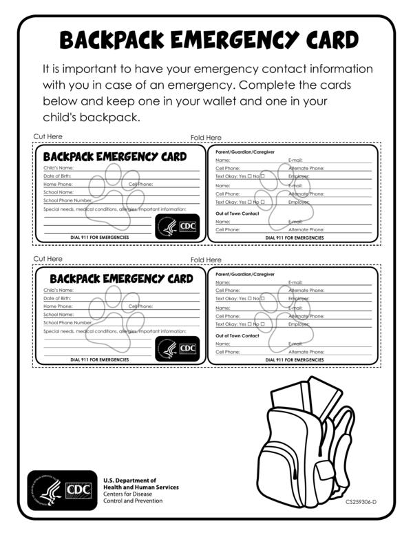 backpack emergency id card template