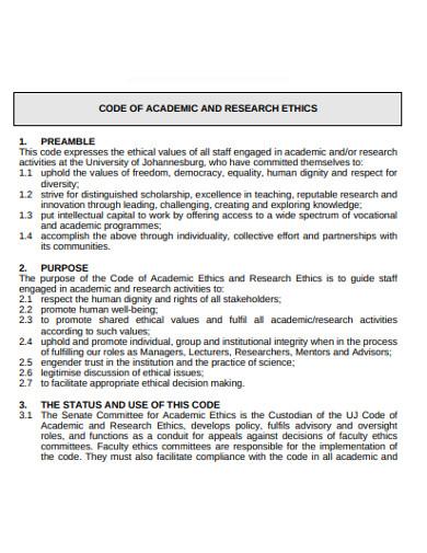 basic academic research ethics example