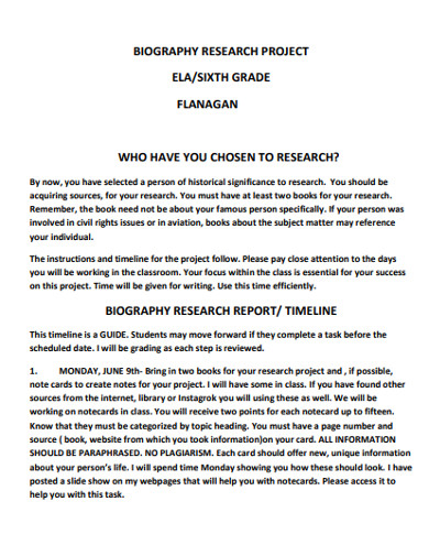 biography research project report example