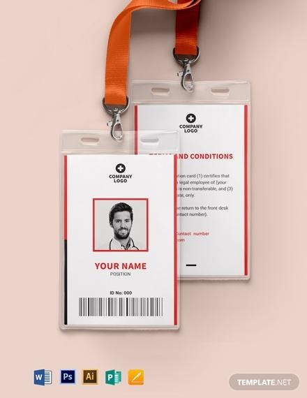 blank emergency id card template