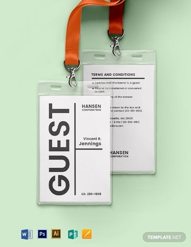 blank visitor guest id card template