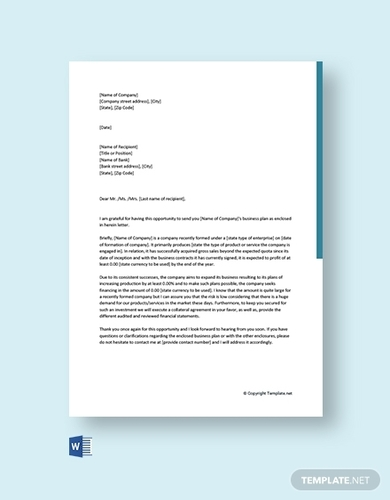 business plan cover letter to bank