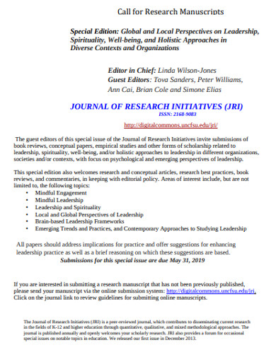 call for research manuscripts