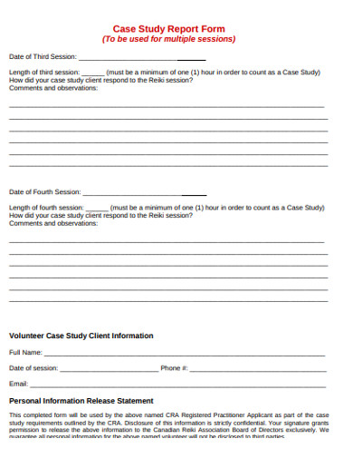 case study release report form example