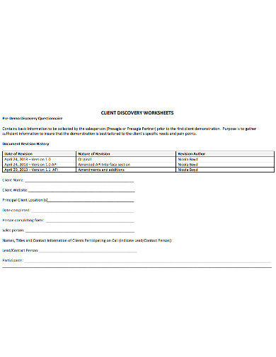 client discovery worksheet example