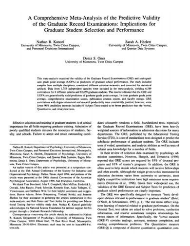 comprehensive meta analysis of the predictive validity