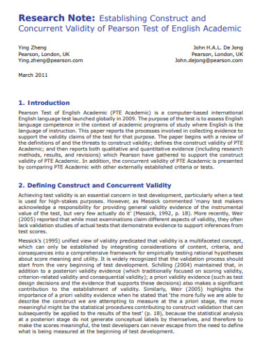 construct and concurrent validity