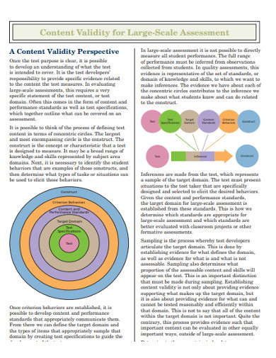 content validity for large scale assessments