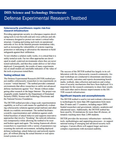 defense experimental research example