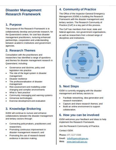 disaster management research framework