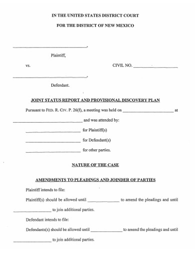 discovery plan form example
