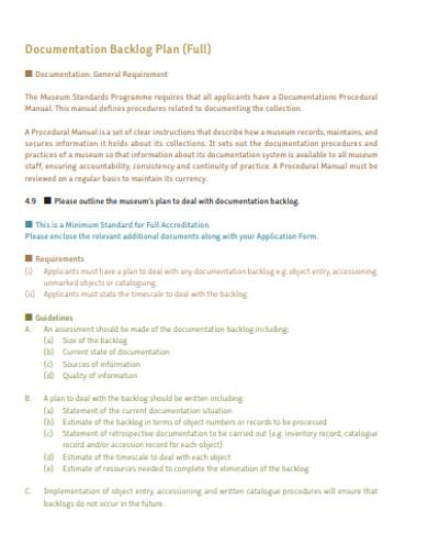 documentation backlog plan template