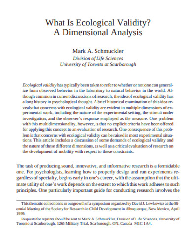 ecological dimensional analysis validity