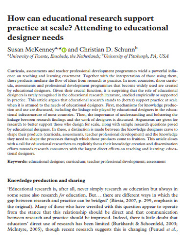 educational designer research example