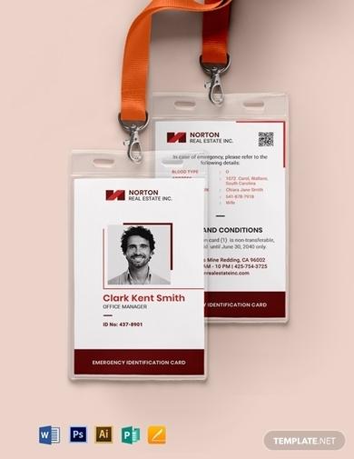 employee emergency id card template