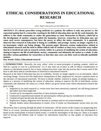 ethical consideration in educational research
