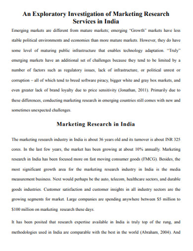 exploratory investigation of marketing research