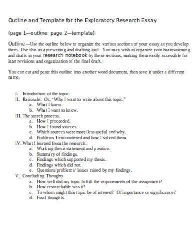 exploratory research essay template