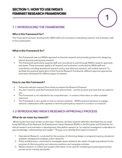 feminist research framework example