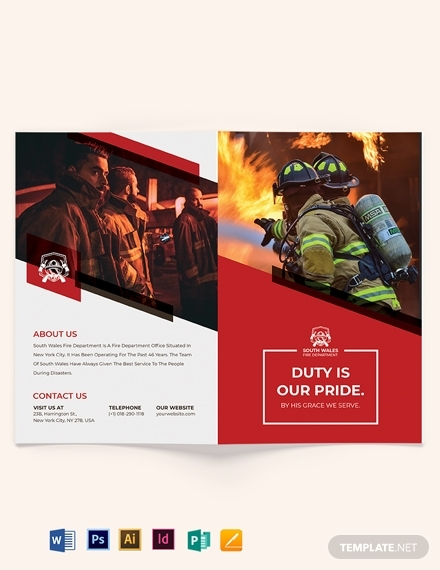 fire department recruitment bi fold brochure template