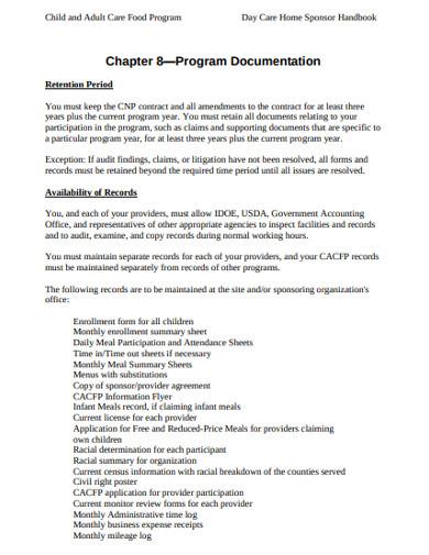 food care program docmentation example