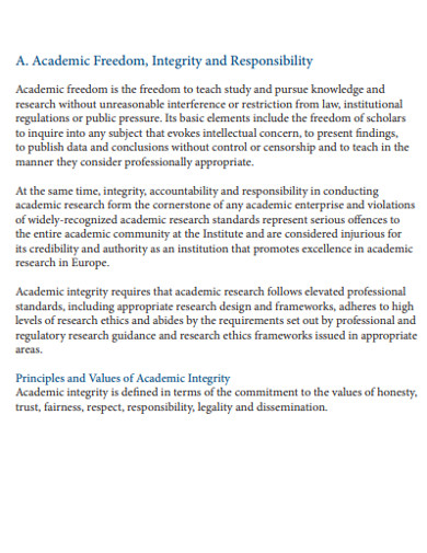 formal academic research ethics example