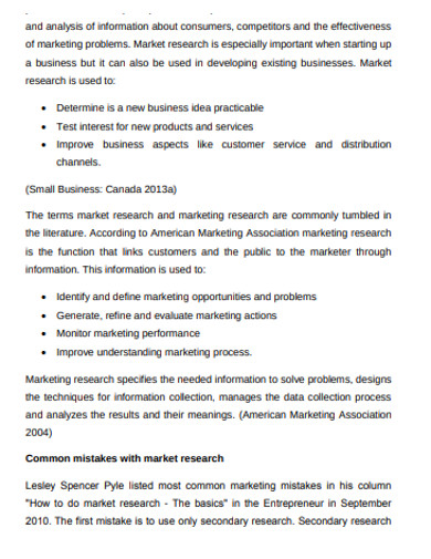 formal market research business plan example