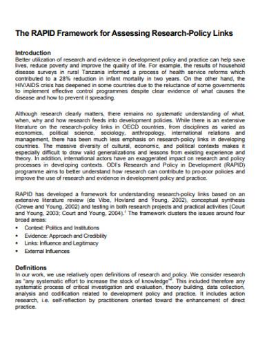 framework for assessing research