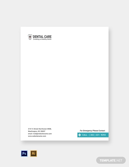 free dental care letterhead