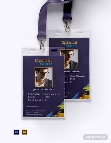 free optical store id card template